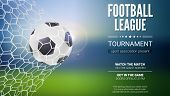 Football Game Match Goal Moment With Ball In The Net, Mesh. Soccer Ball In Goal. Template For Footba poster