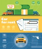 Car For Rent Banner Set  Illustration. Automobile Rental Business, Pre Order And Conclusion Of Contr poster