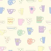 Seamless Pattern With Cups And Mugs. Colored Mugs Of Different Shapes On A Yellow Background. Vector poster