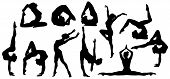 Gymnastics Poses Silhouette, Set Of Flexible Gymnast Exercise, Acrobat Back Bend And Hand Stand Pose poster