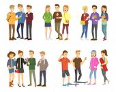 Youth Group Of Teenagers Vector Grouped Teens Characters Of Girls Or Boys Together And Young Student poster