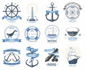 Sea Nautical Vector Badge Set Sailing Hat, Boats, Fish Themed Label Icon With Ship Sign Anchor Rope  poster