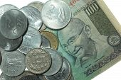 stock photo of mahatma gandhi  - India Rupees notes and coins of different value - JPG