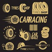 Automobile Rubber Tire Shop, Car Wheel, Racing Vector Logos And Labels Set On Black Background. Vect poster