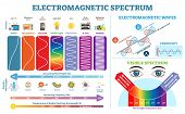 Full Electromagnetic Spectrum Information Collection, Vector Illustration Diagram With Wave Lengths, poster