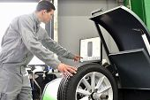 Tyre Change In A Garage - Assembler Balancing A Tyre On The Machine poster