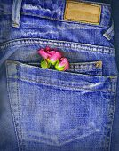 Picture of a couple of roses tucked in a denim pocket. Conceptual image for love, valentine's day, etc.