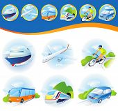 stock photo of cruise ship  - Travel transportation icon set - JPG
