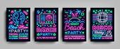 Nightclub Party Collection Of Posters. Night Party, Neon Sign, Neon Sign Flyer, Disco Ball, Musical  poster