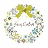 stock photo of christmas wreath  - Vintage Christmas wreath made from snowflakes - JPG