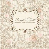 image of wedding invitation  - vintage floral card - JPG