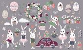 Big Set Of Cute Happy Easter Cartoon Characters And Design Elements. Bunnies, Easter Eggs, Flowers,  poster