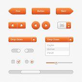 Orange Light User Interface Controls. Web Elements. Website, Software Ui: Navigation Bar, Input Sear poster