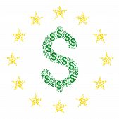Dollar Stars Collage Of Dollars. Vector Dollar Symbols Are Organized Into Dollar Stars Illustration. poster