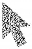 Mouse Cursor Mosaic Of Dollars. Vector Dollar Currency Icons Are Organized Into Mouse Cursor Collage poster