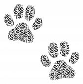 Paw Footprints Collage Of Dollar Symbols. Vector Dollar Currency Pictograms Are Organized Into Paw F poster