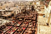 Tanneries Of Fes, Morocco, Africa Old Tanks Of The Fezs Tanneries With Color Paint For Leather, Mor poster