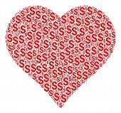 Valentine Heart Collage Of Dollar Symbols. Vector Dollar Currency Pictograms Are Combined Into Valen poster