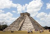 Ancient Mayan Piramide At Chichen Itza