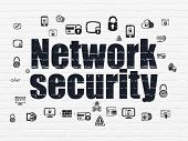 Protection Concept: Painted Black Text Network Security On White Brick Wall Background With  Hand Dr poster