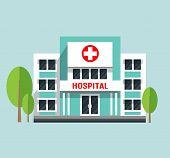 Hospital Building Flat Vector Illustration.  Hospital Isolated Icon, Hospital poster
