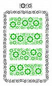 Electric Battery Collage Of Mechanical Wheels. Vector Gear Parts Are Grouped Into Electric Battery C poster