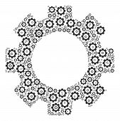 Gear Mosaic Of Tooth Gears. Vector Gear Icons Are United Into Gear Collage. poster