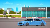 Happy Owner Driving New Car Over Dealership Center Showroom Building Background Flat Vector Illustra poster