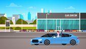 Happy Owner Driving New Car Over Dealership Center Showroom Building Background Flat Vector Illustra poster