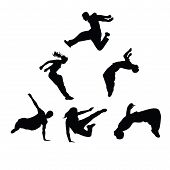 Silhouettes Of People Engaged In Parkour. Sports Guys And Girls. Vector Silhouettes On White Backgro poster
