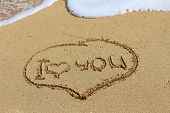 The Writing On Sand, I Love You. Oceanic Foam. Love You. poster