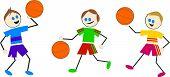 stock photo of children playing  - kids playing basketball - JPG