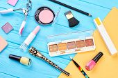 Woman Makeup Products And Accessories. Fashion Makeup Essentials And Makeup Tools, Blue And Yellow B poster