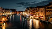 Grand Canal At Night, Venice, Italy. It Is One Of The Best-known Sights In Venice. Panoramic View Of poster