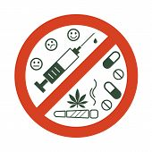 No Drugs Allowed. Drugs, Marijuana Leaf With Forbidden Sign - No Drug. Drugs Icon In Prohibition Red poster