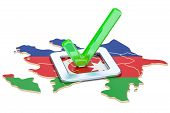 Azerbaijan Election Concept, Vote In Azerbaijan, 3d Rendering Isolated On White Background poster