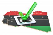 Libyan Election Concept, Vote In Libya, 3d Rendering Isolated On White Background poster