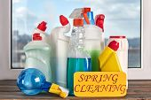 Assorted Cleaning Bottles. Assortment Of Means For Cleaning. Spring Cleaning Concept. poster