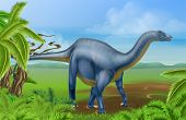 An Illustration Of A Diplodocus Dinosaur From The Sauropod Family Like Brachiosaurus And Other Long  poster
