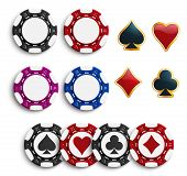 Casino Poker Chips Or Gambling Tokens With Playing Cards Suits. Vector Isolated Poker Game Chips Wit poster