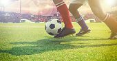 Soccer Or Football Player Standing With Ball On The Field For Kick The Soccer Ball At Football Stadi poster