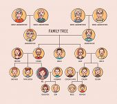 Pedigree Or Ancestry Chart Template With Portraits Of Men And Women In Round Frames. Visualization O poster