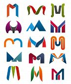 Постер, плакат: M Letter Icons Template For Corporate Or Business Company And Brand Name Emblem Vector Letter M Set