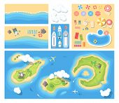 Beach Holiday - Modern Vector Set Of Illustrations. Top View Position Of Islands, Sea Costs With Rec poster