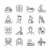 Relaxing Massage And Organic Spa Line Pictograms. Hand Therapy Vector Icons. Spa And Therapy, Massag poster