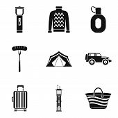 Living Space Icons Set. Simple Set Of 9 Living Space Vector Icons For Web Isolated On White Backgrou poster