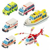 Ambulance Urban Transport Icons Set. Isometric Illustration Of 6 Ambulance Urban Transport Vector Ic poster