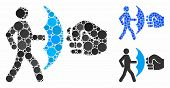 Crime Protection Mosaic Of Round Dots In Different Sizes And Shades, Based On Crime Protection Icon. poster