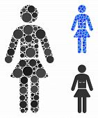 Lady Composition Of Circle Elements In Variable Sizes And Color Hues, Based On Lady Icon. Vector Cir poster