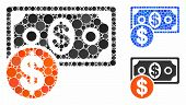 Cash Mosaic Of Circle Elements In Different Sizes And Color Hues, Based On Cash Icon. Vector Round E poster